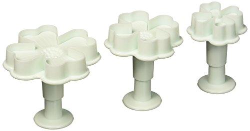 Generic 3PcsSet 4 Petals Heart Shape Flower Cutter Fondant Cake Sugarcraft Decorating Plunger Tools White