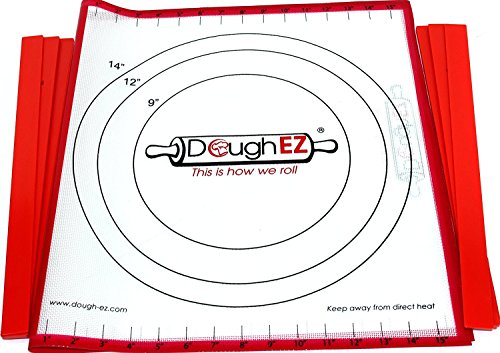 DoughEZ Extra Large 175 x 32 Non-Slip Silicone Pastry Dough Rolling Mat and 6 Guide Sticks - BPA Free FDA Approved Materials