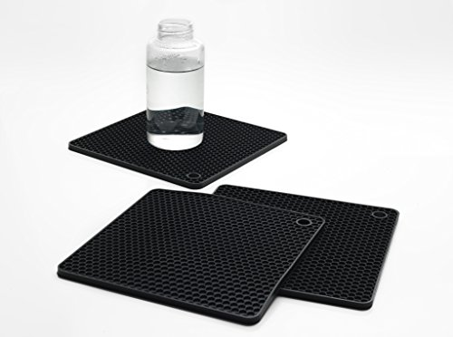 Dishwasher Safe Heat-Resistant Food-Grade Silicone Pot Holders  Trivet Mats  Jar Openers  Hot Pads for PotsPans  Durable  Set of 3