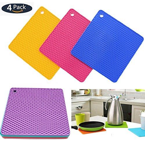 Silicone Pot Holders Pads 4pcs Multipurpose Non-Slip Heat Resistant Pads For Pot HolderSpoon RestJar OpenerCup Mat Coasters Kitchen Tool Durable Heat ResistantThick Flexible 4pcs