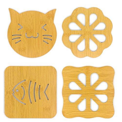 HanLingGG Hot Pot Holder Pads Durable 4 Pcs Trivet Mat Heat Resistant Pads Cup Mat and Coaster for Home Kitchen Decor