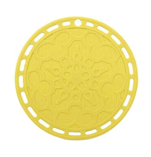 Kangkang Set of 4 Non-slip Waterproof Silicone Round Table Placemats Lemon Yellow the Silicone Heat Insulation Cup Mat Bowls Mat Plate Mats Circular Eat Mat Pot Pad