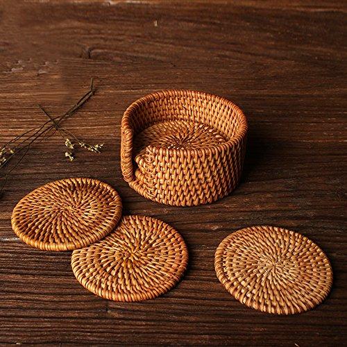 yazi Natural Rattan Cup Coaster Rustic Drink Table Mat Handmade Knit Tea Pot Pad 4 Set of 7