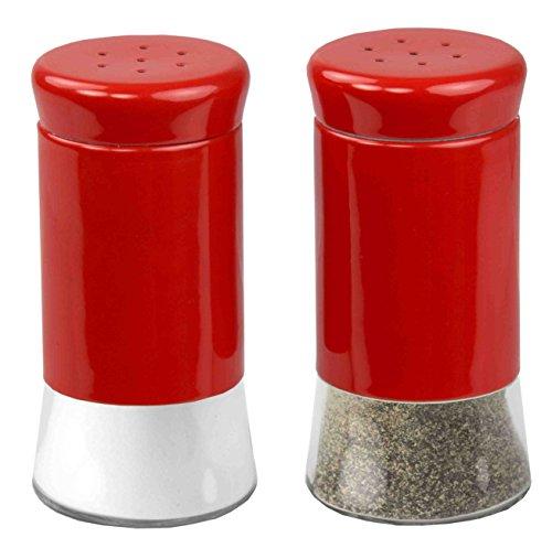 Home Basics Essence Collection Salt and Pepper Shaker Set Red