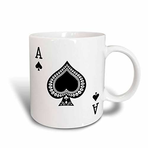 3dRose mug_76552_2 Ace of Spades Playing Card Black Spade Suit Gifts for Cards Game Players of Poker Bridge Games Ceramic Mug 15-Ounce