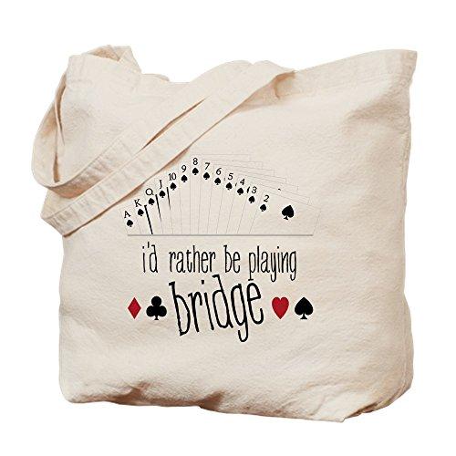 CafePress - Playing Bridge - Natural Canvas Tote Bag Cloth Shopping Bag