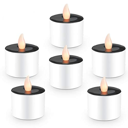 Solar Candles Flameless Rechargeable Candles LED Tea Lights Candles Battery Operated Upgraded Solar Power Waterproof Warm White Candle Set of 6 for Home Bar Bedroom Living Room Garden Outdoor Indoor