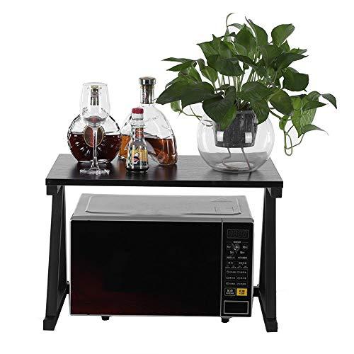 2 Tier Microwave Stand Storage Rack Microwave Oven Stand Storage Rack Kitchen Cabinet Counter Shelf OrganizerBlack