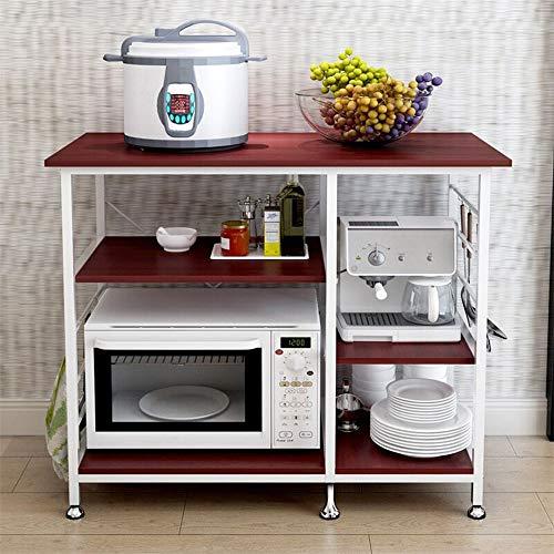 Sdoveb 3-Tier Kitchen Bakers Rack Microwave Oven Stand Storage Cart Workstation Shelf Multifunctional Floor Shelf for Appliances Spice Cooker Organizer Workstation Shelf Brown