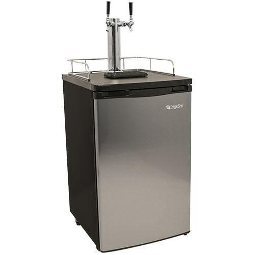 EdgeStar KC2000SSTWIN Full Size Stainless Steel Dual Tap Kegerator Draft Beer Dispenser - Stainless Steel