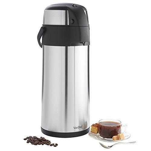 VonShef Thermal Airpot Carafe Coffee Beverage Dispenser Stainless Steel Large 5 Liter or 169 fl oz Capacity