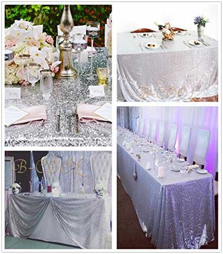 B-COOL 90x132 Rectangle Silver Sequin Tablecloth Sequin Overlay Glitter Tablecloth Sequin Fabric Tablecloth