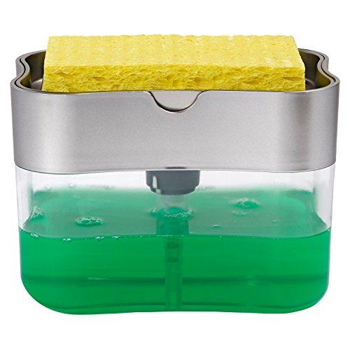 ST 592401 Soap Pump Dispenser and Sponge Holder 13 Ounces Silver