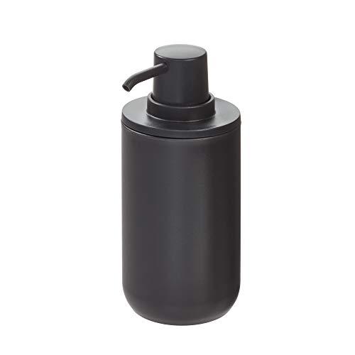 iDesign Cade Plastic Pump Liquid Soap Dispenser Holds 12 Oz for Bathroom Kitchen Sink Vanity 8 cm diameter x 16 cm Matte Black