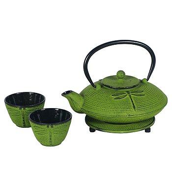 Cast Iron Dragonfly Tea Set -25 Ounce Teapot Two Cups Trivet