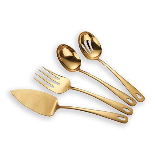 Berglander Stainless Steel Golden Titanium Plated Flatware Serving Set 4 Pieces Cake Server Cold Meat Fork Pierced Serving Spoon Serving Spoon Golden Silverware Set Shiny Golden