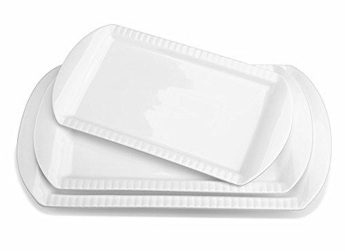 LIFVER Large Porcelain Embossed Rectangular Platter Serving Plates 156 Inch 138 Inch 122 Inch Set of 3 White