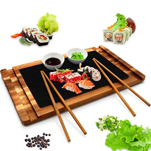 Wooden Board Sushi Serving Plate - Rectangular Japanese Sushi Serving Plate - Acacia Wood Platter DisplayCuttingServing Tray Set - Slate Plate 2 Ceramic Sauce Bowls Chopstick - NutriChef PKSUSH10