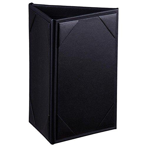 Yescom 10pcs 4x6 3-Side Triangle Menu Holder Black Leatherette Table Tent for Bar Cafe Restaurant