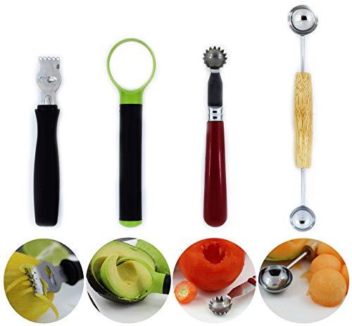 Lemon zester tool Strawberry corer Tomato core remover Melon baller scoop Avocado slicer pitter