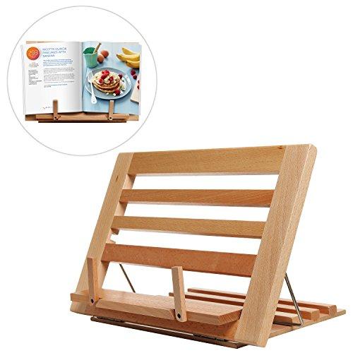 Countertop Folding Alder Wood Cookbook Holder  Adjustable Tabletop Display Easel Stand for Books iPads