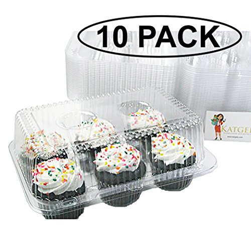 Katgely 6 Cupcake Carrier - Plastic Cupcake Container Cupcake Holder - Crystal Clear Plastic to Display Cupcakes Pack of 10