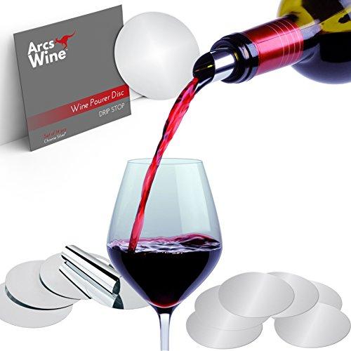 Arcs Wine Pourer Disc Set of 14 – Best Drip Stop Pour Spouts – Thin Flexible and Reusable Drop Stop Disks