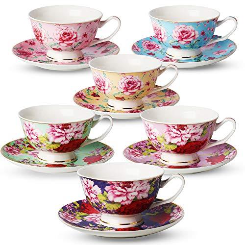 BTäT- Tea Cups Tea Cups and Saucers Set of 6 Tea Set Floral Tea Cups 8oz Tea Cups and Saucers Set Tea Set Porcelain Tea Cups Tea Cups for Tea Party Rose Teacups China Tea Cups Bone China