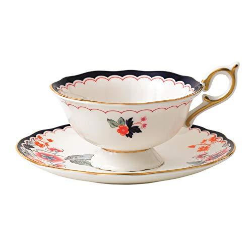 Wedgwood 40024022 Wonderlust Teacup Saucer Set Jasmine Bloom 2 Piece Crimson Orient
