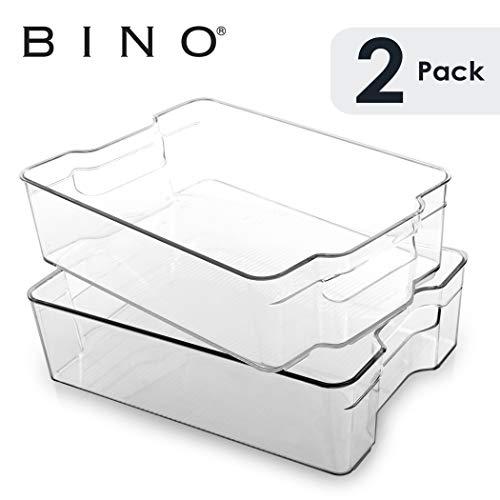 BINO Stackable Plastic Organizer Storage Bins Large - 2 Pack - Pantry Organization and Storage Refrigerator Organizer Bins Fridge Organizer Freezer Organizer Pantry Organizer Pantry Storage