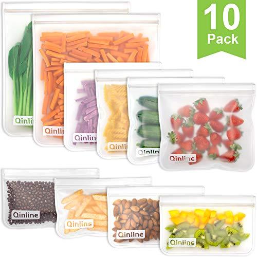 Reusable Storage Bags - 10 Pack Reusable Freezer Bags2 Reusable Gallon Bags  4 BPA FREE Reusable Sandwich Bags  4 Leakproof Reusable Snack Bags Ziplock Lunch Bags for Food Marinate Meat Fruit