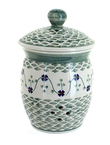 Polish Pottery Sage Floral Garlic Keeper
