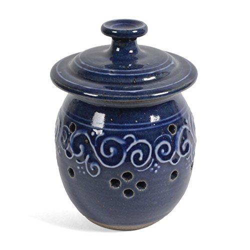 The Potters LTD Garlic Lovers Large Garlic Keeper True Blue