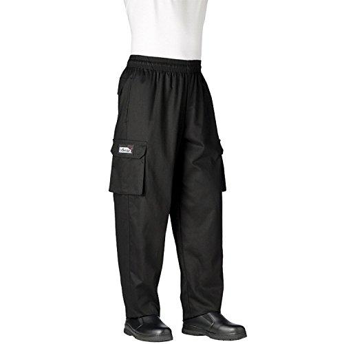 Chefwear Mens Unisex Cargo Cotton Chef Pant Black Medium
