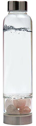 Elixir2Go Crystal Elixir Bottle – 16oz Gemstone Water Bottle for Making Crystal Infused Gemwater – Includes Gem Stones and Protective Neoprene Sleeve Rose Quartz Clear Quartz