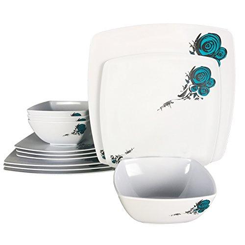 Hware 12 Pcs Melamine Dinnerware SetRose Design