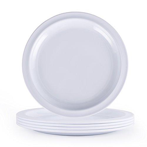 Melamine Dinnerware Set Hware-10Inch Every Use Dinner Plates White Set of 4