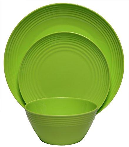 Melange 12-Piece  Melamine Dinnerware Set Solids Collection   Shatter-Proof and Chip-Resistant Melamine Plates and Bowls  Color Green  Dinner Plate Salad Plate Soup Bowl 4 Each