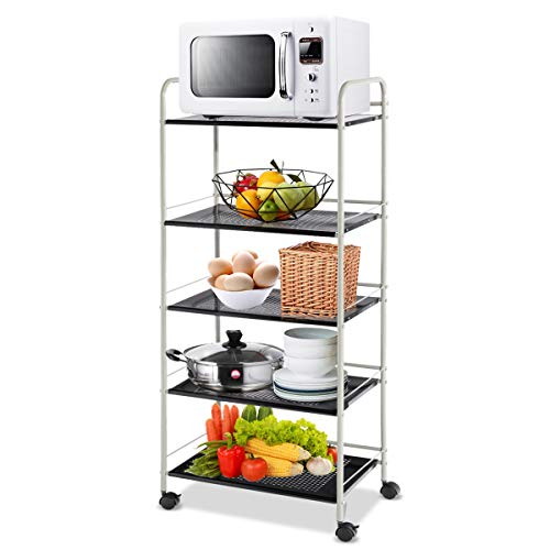 Giantex Kitchen Bakers Rack Trolley Cart Microwave Rack 5-Tier Rolling Utility Cart Steel Storage Shelf Rack with Lockable Casters for Kitchen Warehouse Garage Salon Bathroom Shelving Organizer