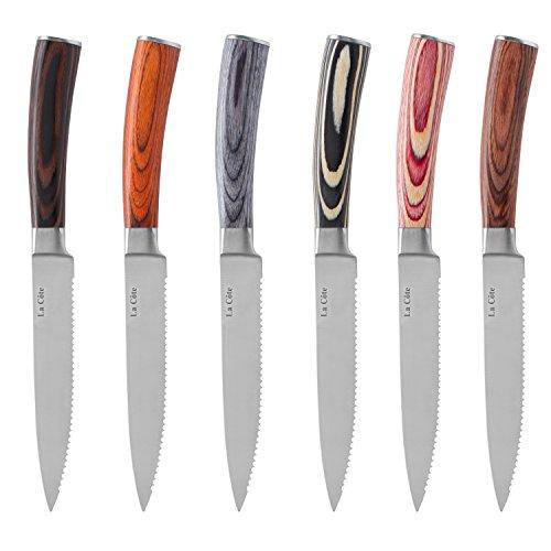 La Cote 6 Piece Steak Knives Set Japanese Stainless Steel Pakka Wood Handle In Gift Box 6 PC Steak Knife Set - Multi Color