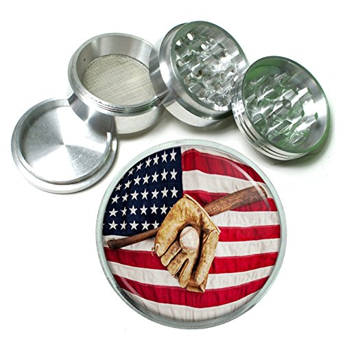 Perfection In Style 63mm 25 4 Pc Aluminum Sifter Magnetic Herb Grinder Vintage Baseball Design 002
