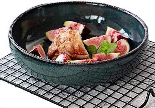 ZHA JIAN Ceramic Bowl European Stoneware Creative Dark Green Ceramic Fruit Salad Bowl Shallow Mouth Bowl Mixing Bowl