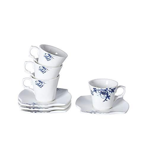 Porlien Porcelain 2-Ounce80ml Small Espresso Cups Set of 4 with Saucers Blue Floral