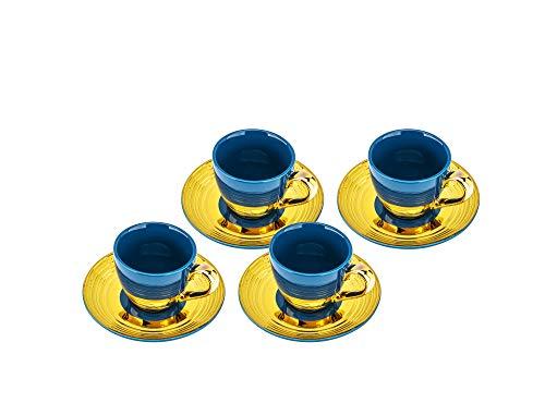 Yedi YCC747 3 Oz Fine Porcelain Espresso Cups  Saucers Ceramic Espresso Set Cobalt Gold Bone China Cups Saucers Set for 4