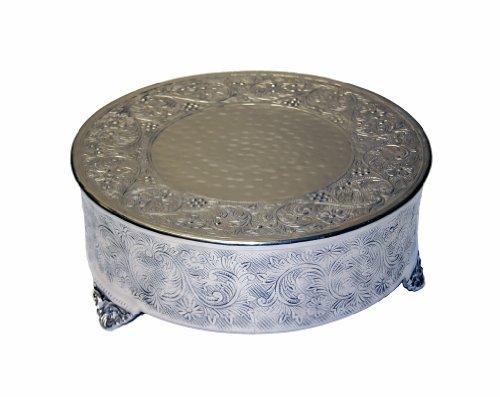GiftBay Creations 743-18R-AMA Wedding Round Cake Stand 18-Inch Silver