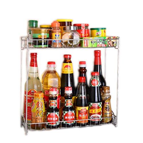 Spice Rack Organizer Fresh Household 2 Tier Spice Jars Bottle Stand Holder Stainless Steel Kitchen Organizer Storage Kitchen Shelves Rack - Silver