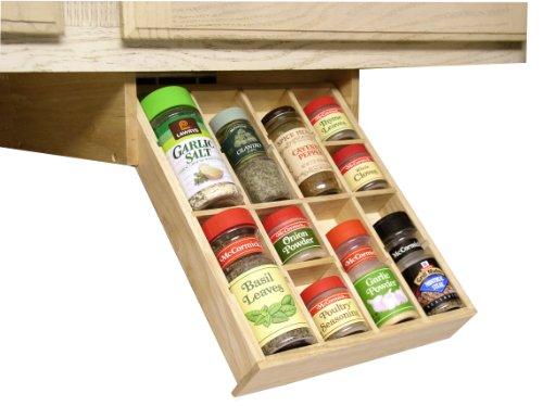Under Cabinet Shelf Kitchen Storage Spice Rack K-Cup mounted adjustable hardwood organizer by Axis