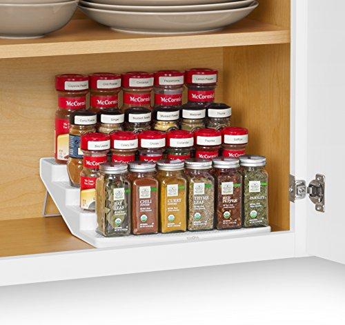 YouCopia SpiceSteps Non-Skid 4-Tier Kitchen Cabinet Spice Rack Organizer 24-Bottles White