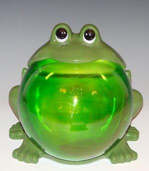 Ceramic FrogGlass Belly Cookie Jar