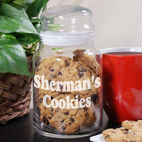 Engraved Any Message Glass Cookie Jar Holds 31 oz Dishwasher Safe